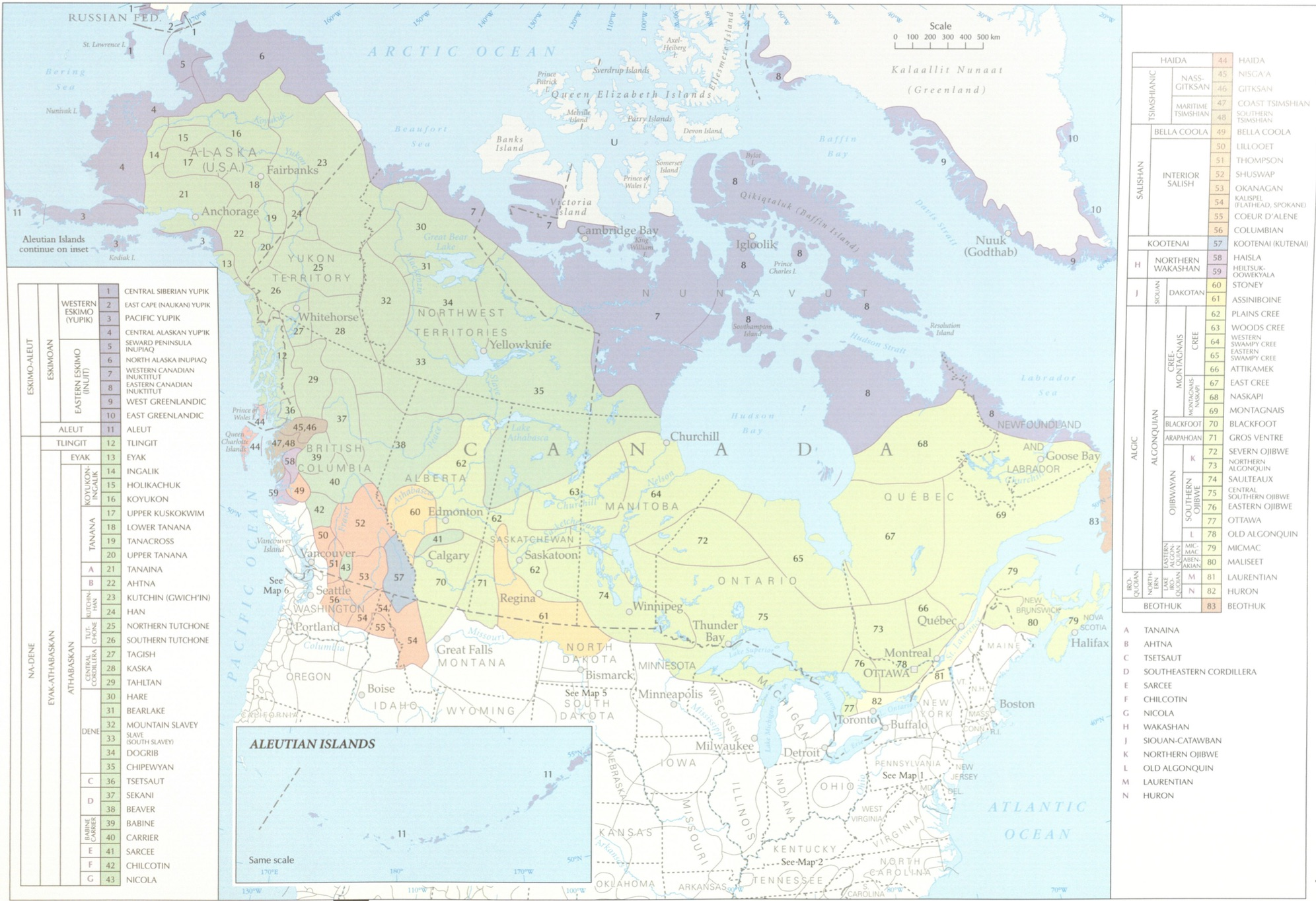 Map of Canada with different languages highlighted