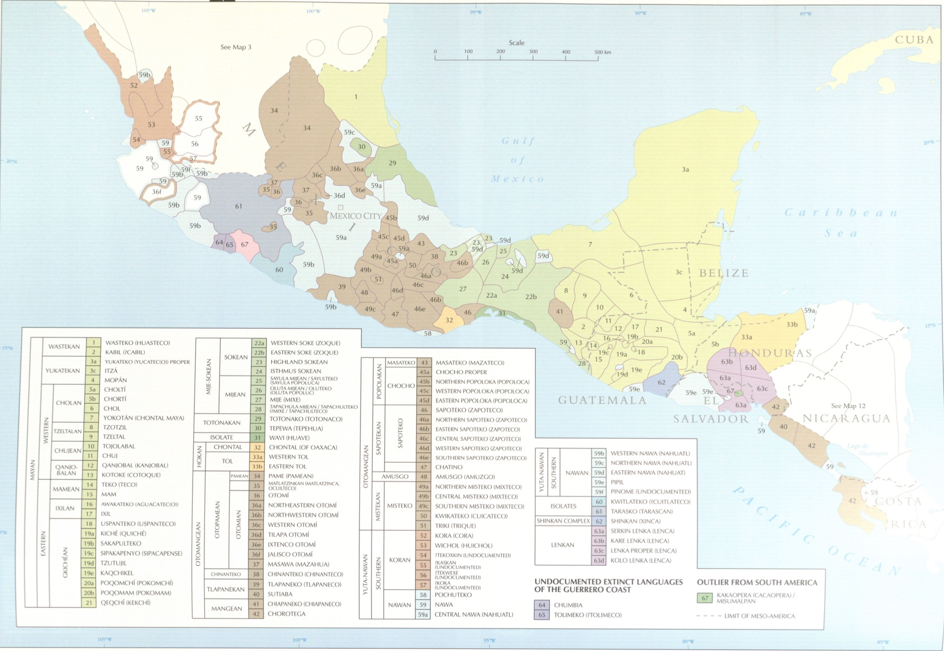 Map of Mesoamerica with pre-European colonization languages highlighted