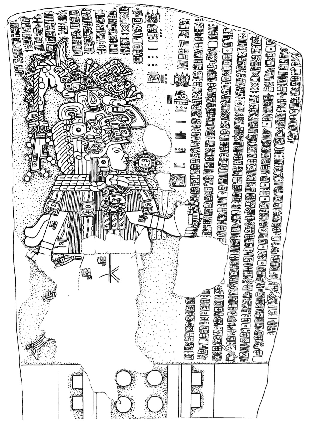 Illustration of La Mojarra Stela 1 with one large figure on the left surrounded by lines of smaller hieroglyphs