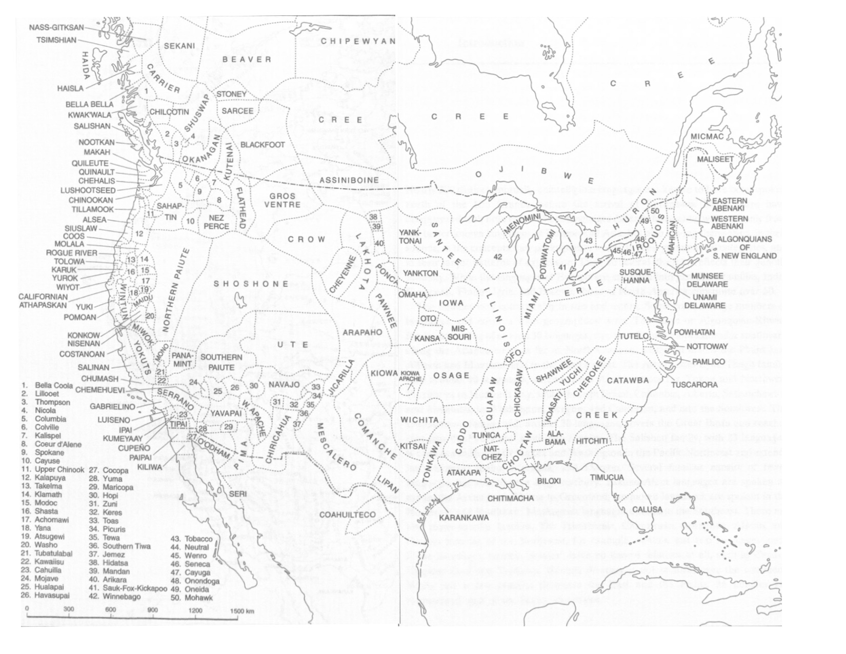 Map of America showing the many language groups prior to colonization by Europeans