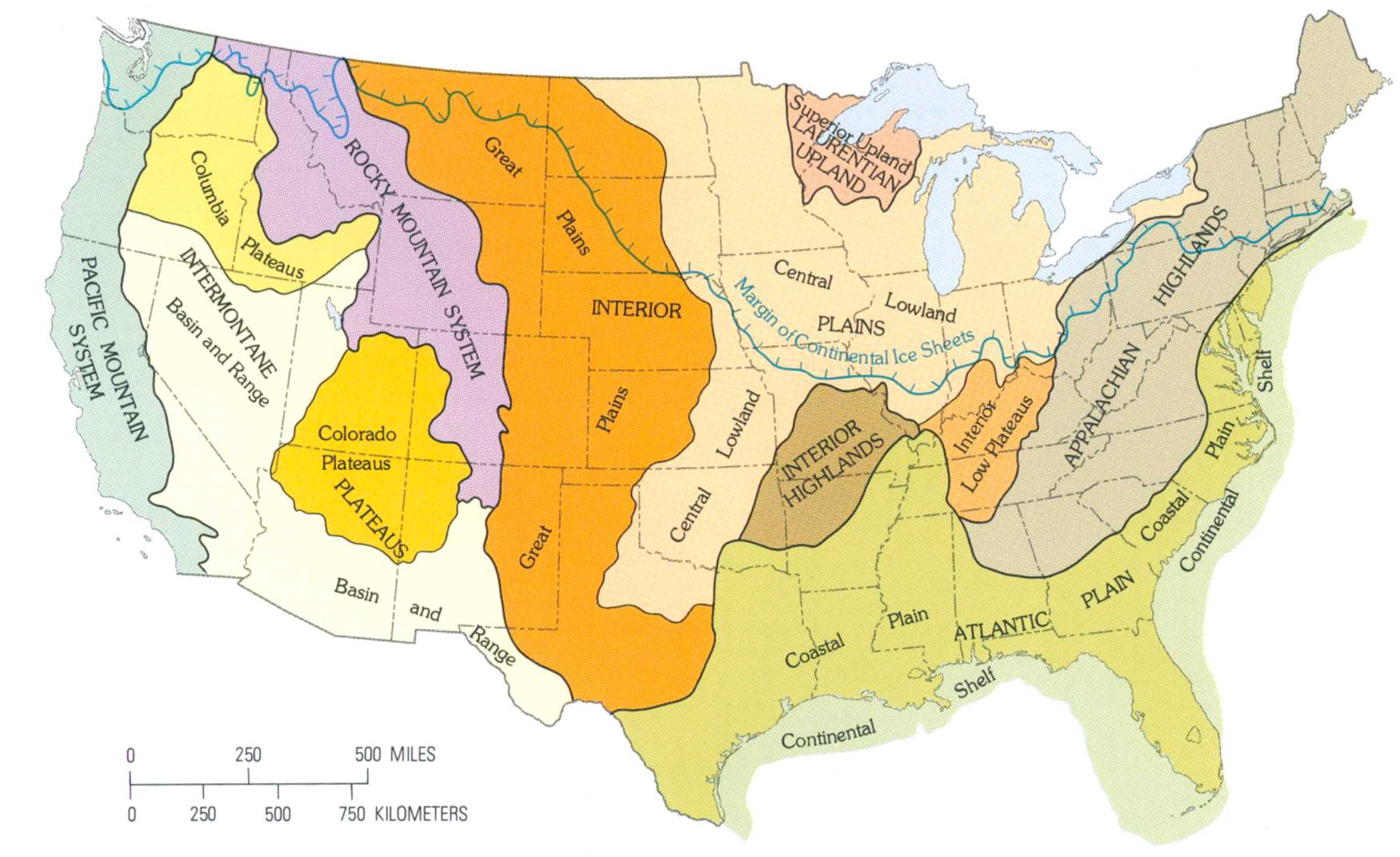 Map of the continental US organized by geographic descriptors