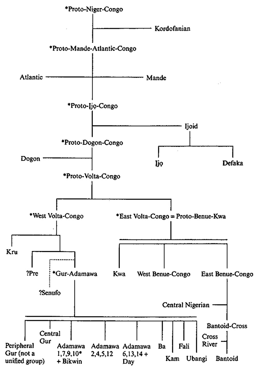 Language diagram on Niger-Congo branches