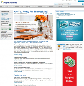 Screenshot of old Thanksgiving page