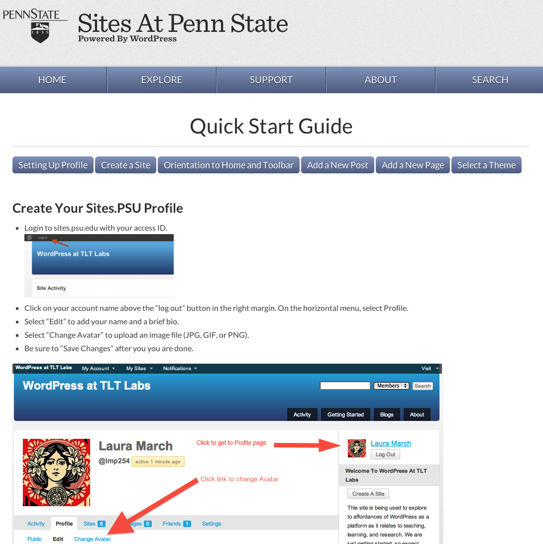 Screenshot of Quick Start guide
