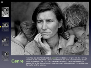 Description of genre vocabulary and how it relates to Migrant Mother