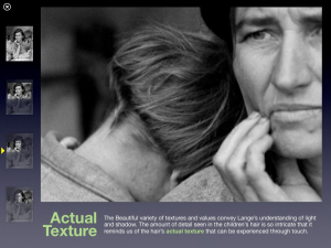 Description of texture vocabulary and how it relates to Migrant Mother