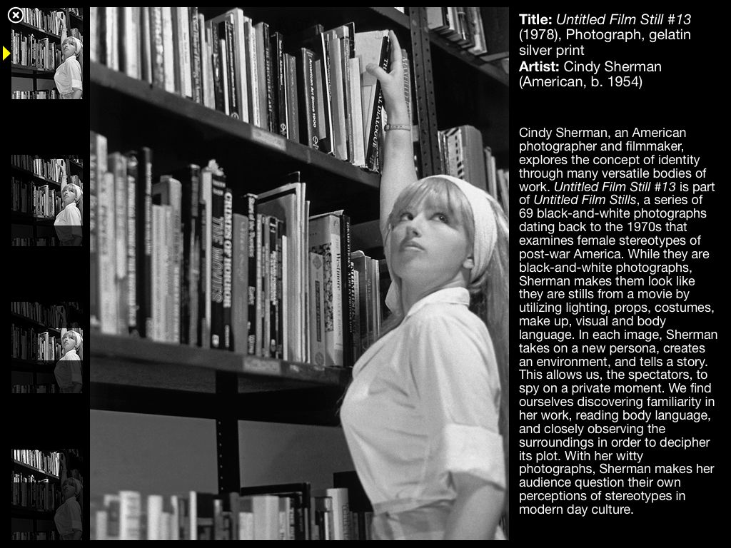 First overview page of Cindy Sherman's work