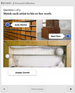 Matching assessment interactive piece