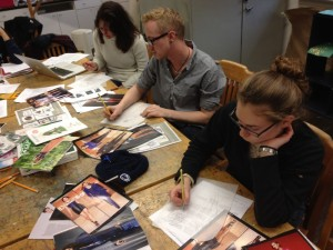 Students creating croquis