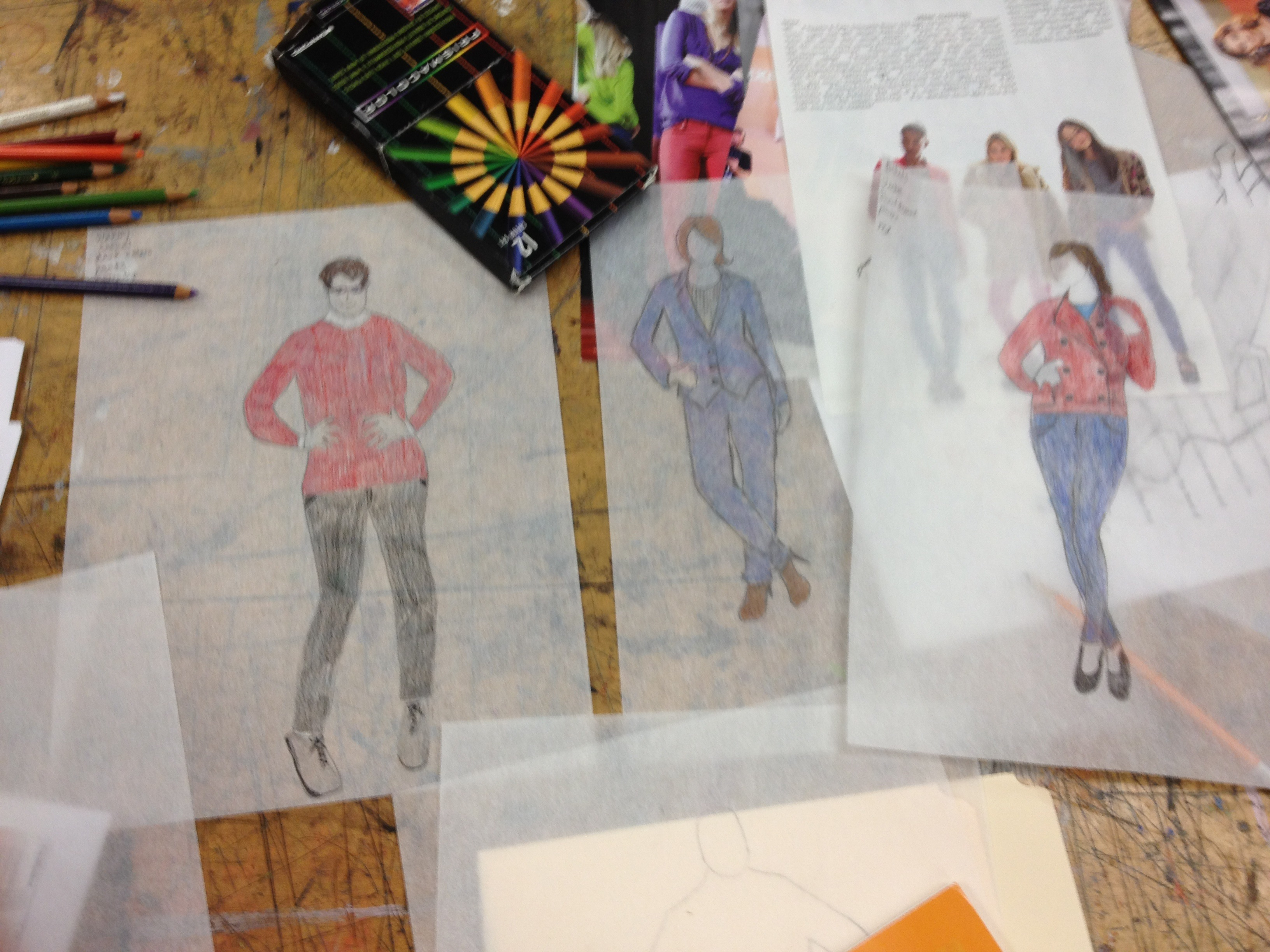 Many sketching of fashion templates