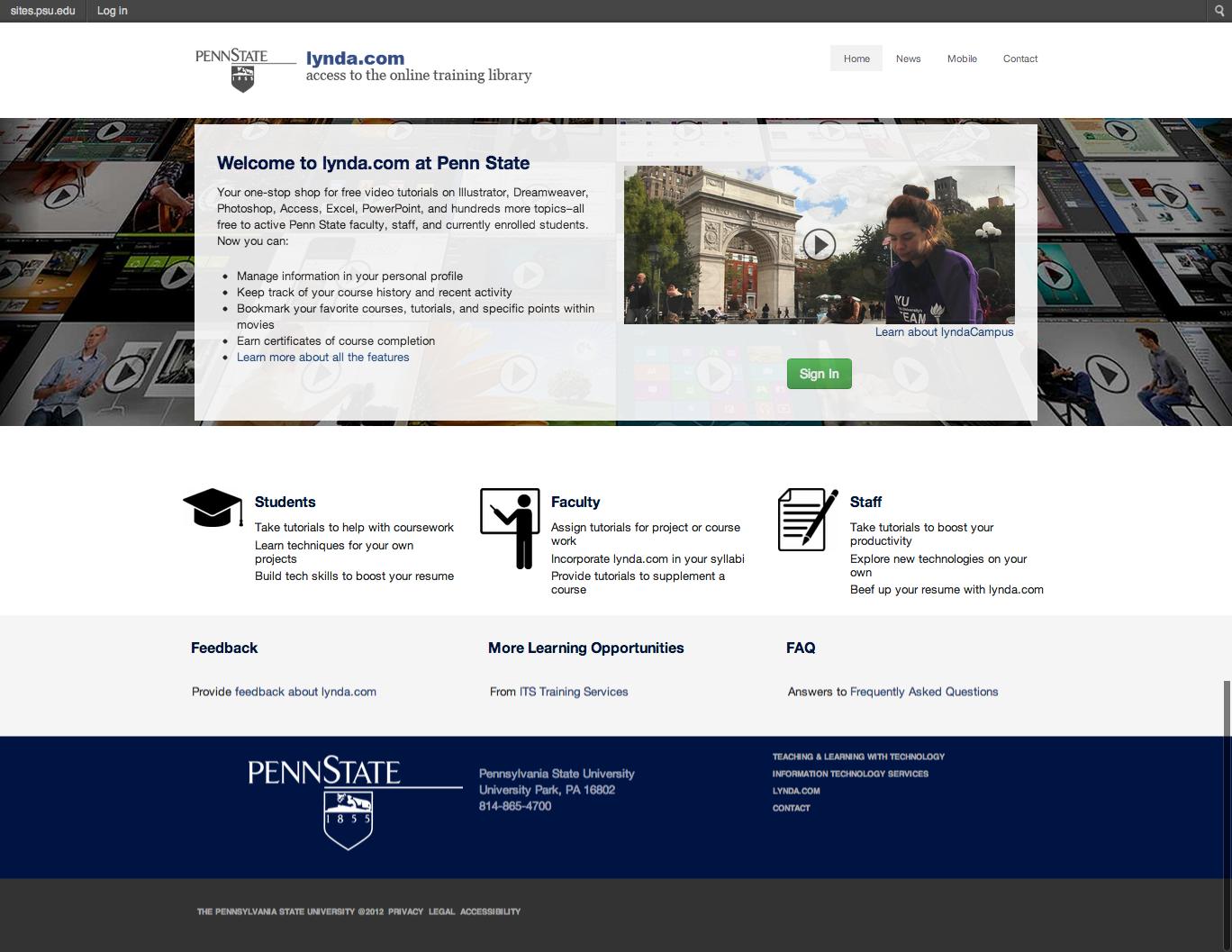 First version of Lynda.com Site Redesign