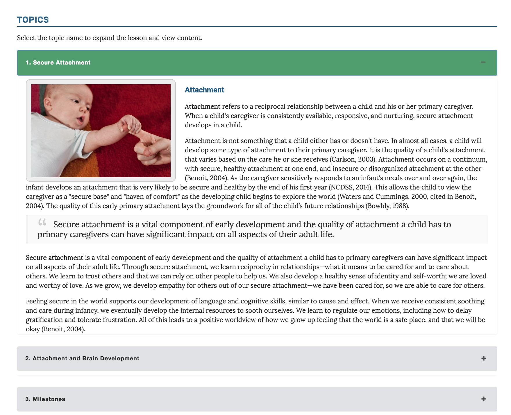 Screenshot of New Course with Expandable Topic Sections