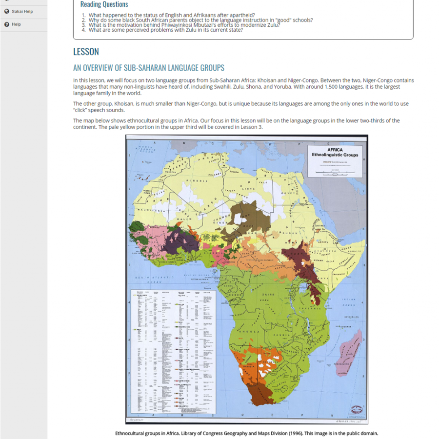 Screenshot of Lesson 2 with Map of Africa