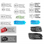 Initial logo design drafts with color