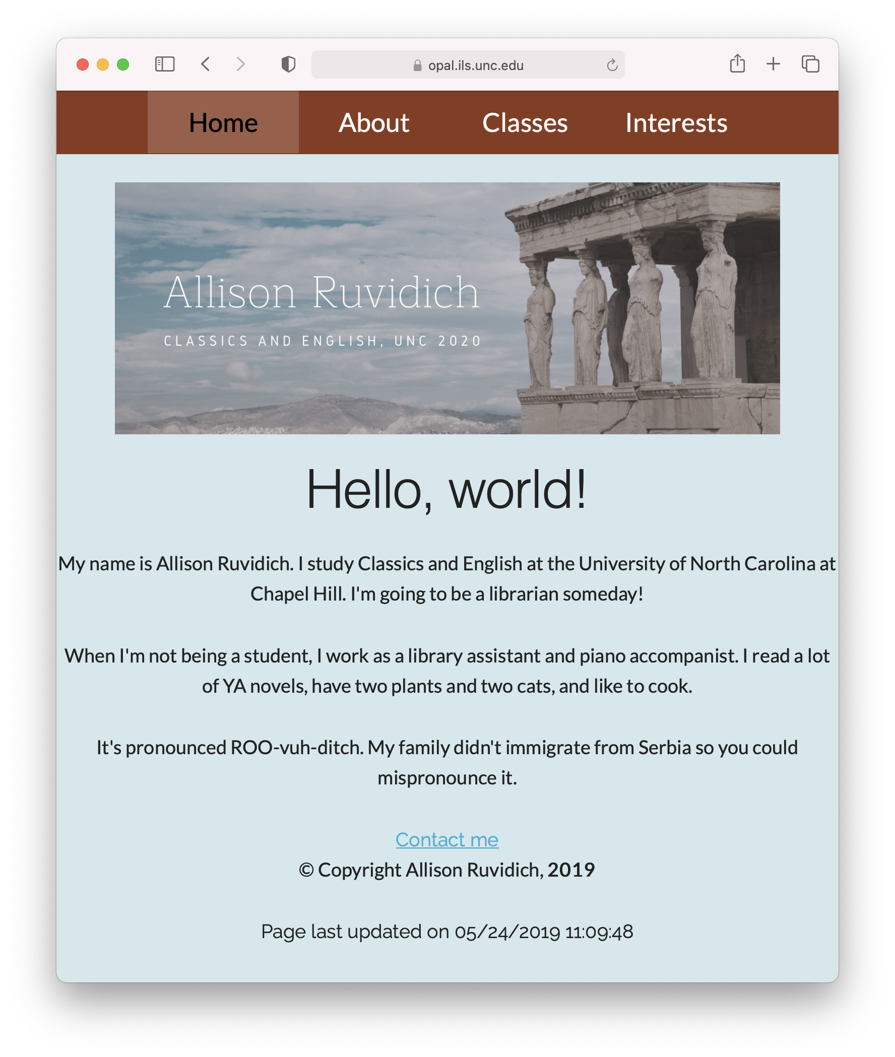 Screenshot of Allison's website