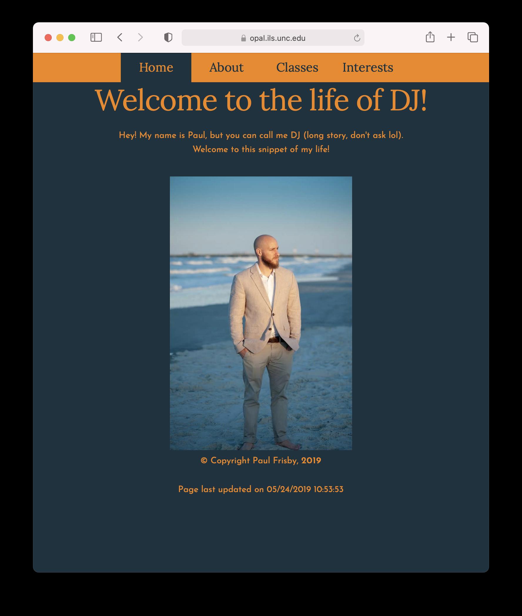 Screenshot of DJ's website