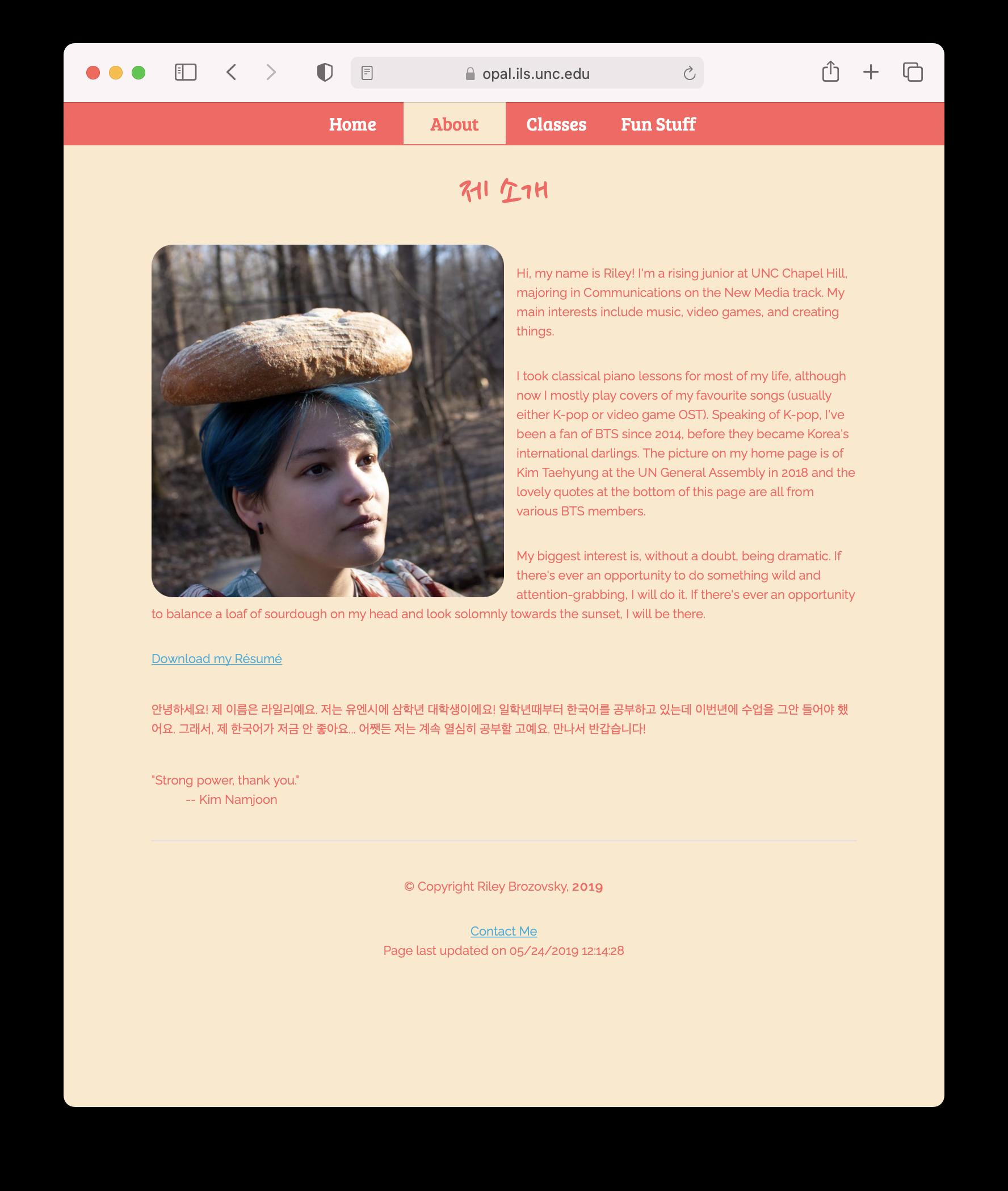 Screenshot of Riley's website