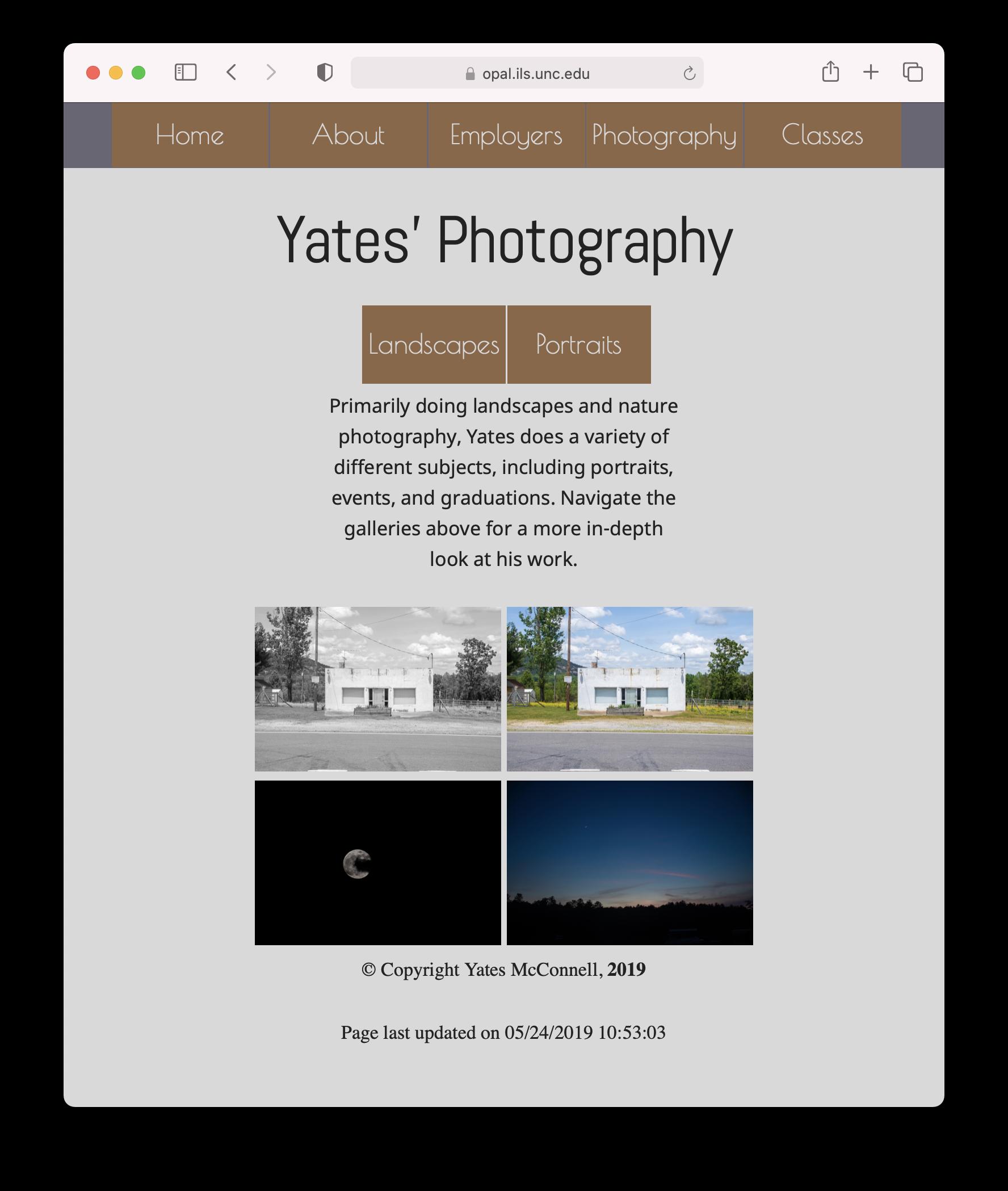 Screenshot of Yates's website